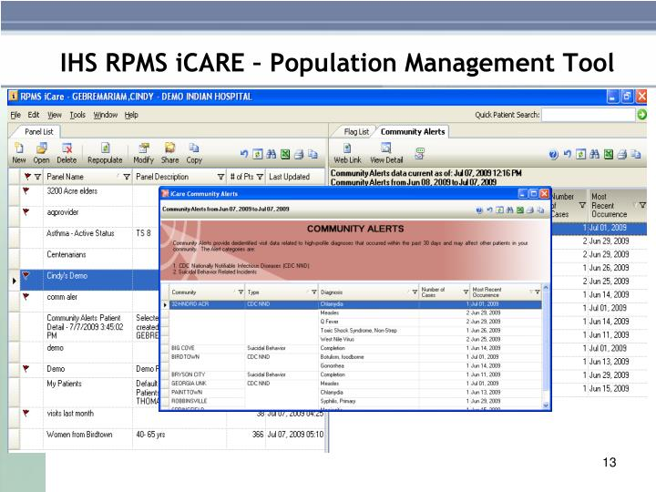 IHS RPMS iCARE – Population Management Tool