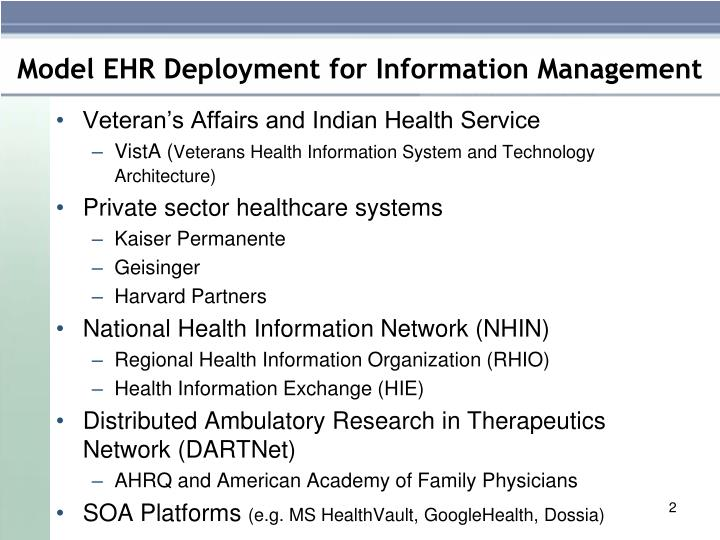 Model ehr deployment for information management