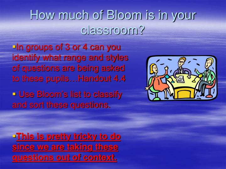 How much of Bloom is in your classroom?