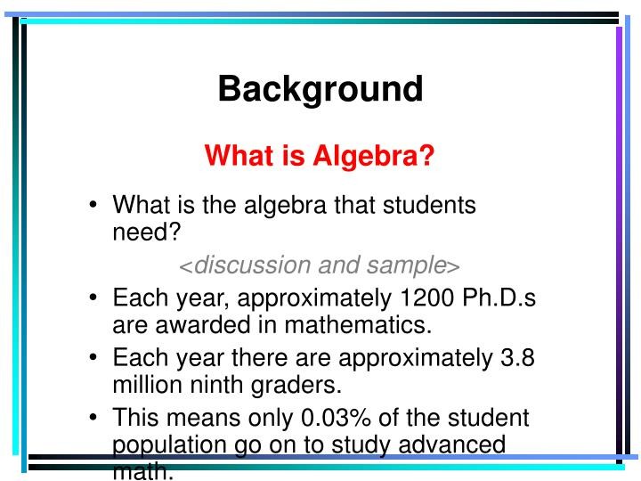 What is Algebra?