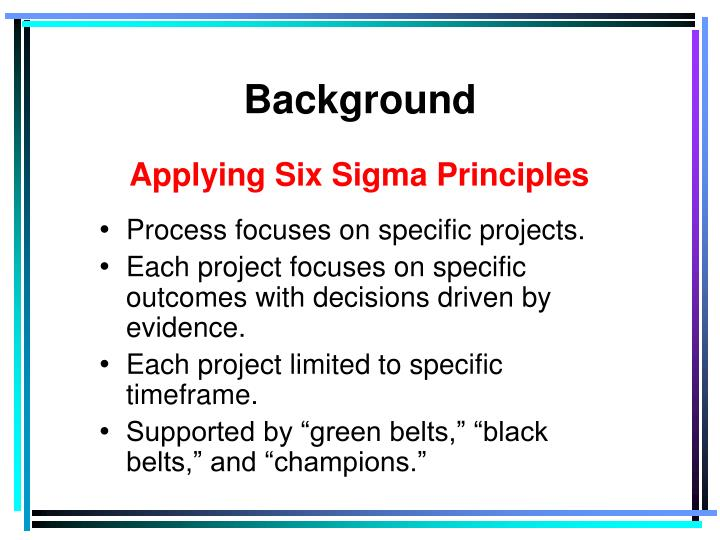 Applying Six Sigma Principles