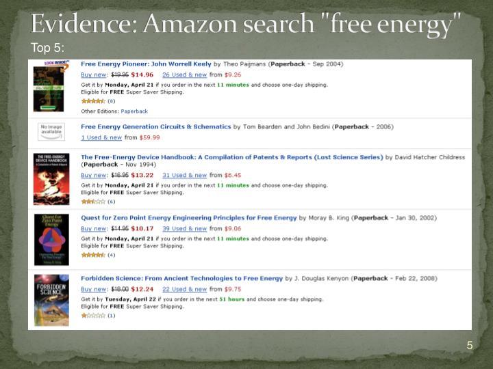 "Evidence: Amazon search ""free energy"""