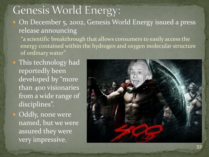 Genesis World Energy: