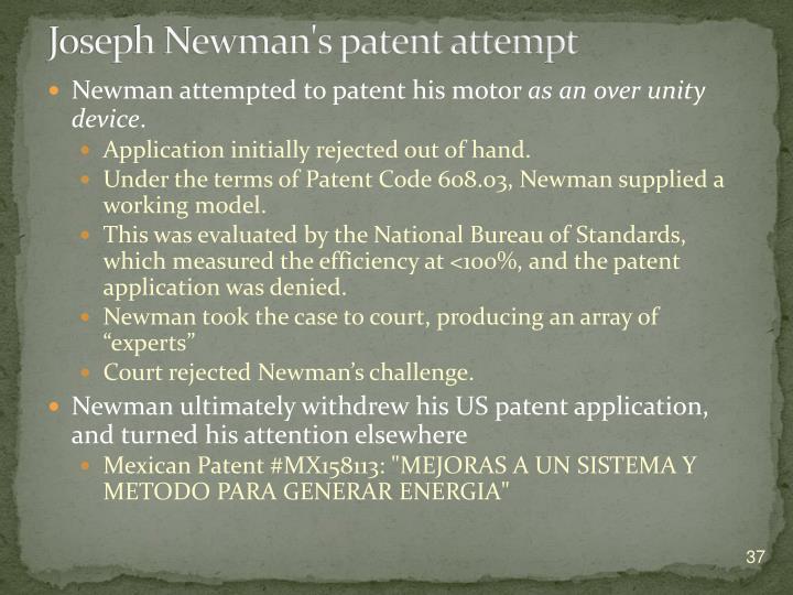 Joseph Newman's patent attempt