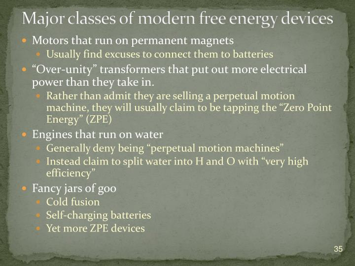 Major classes of modern free energy devices