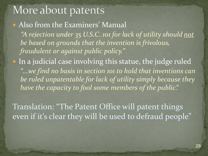 More about patents