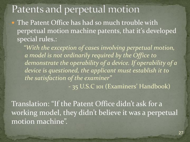 Patents and perpetual motion