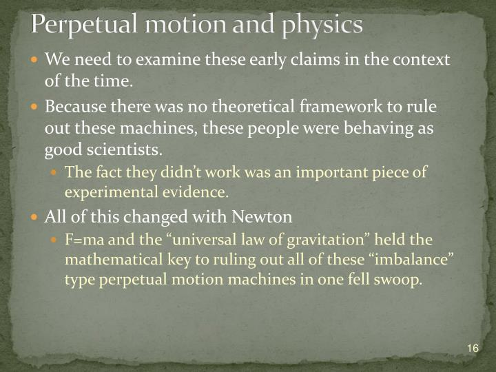 Perpetual motion and physics