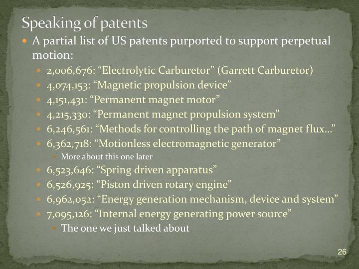 Speaking of patents