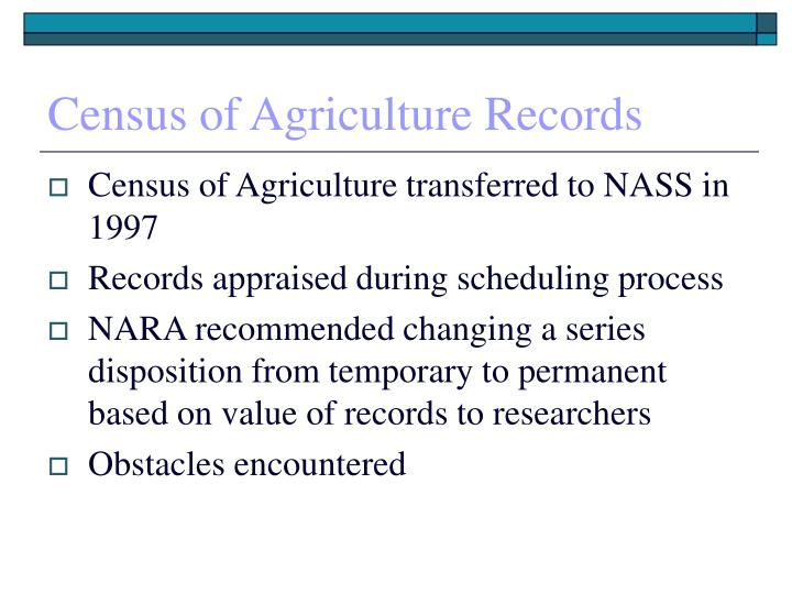 Census of Agriculture Records