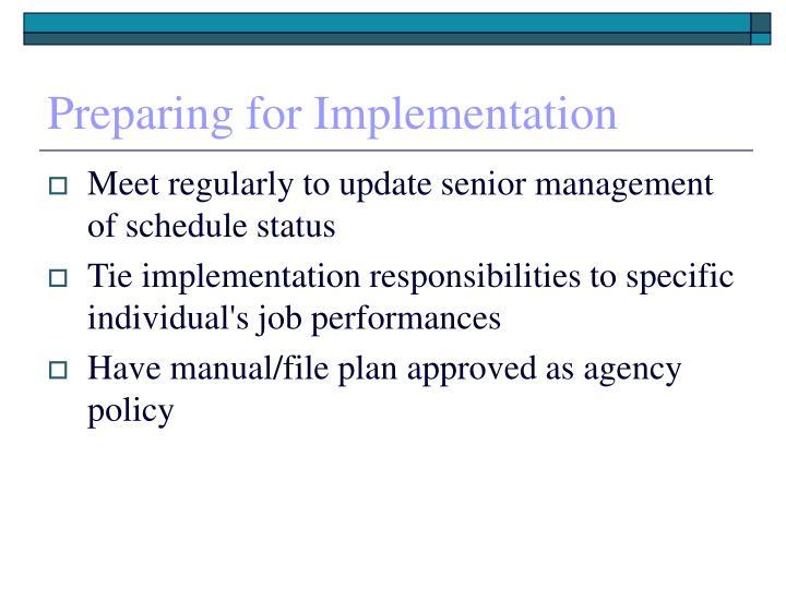 Preparing for Implementation