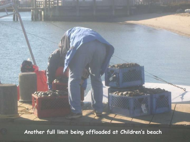 Another full limit being offloaded at Children's beach