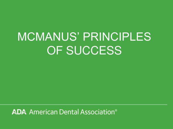Mcmanus principles of success