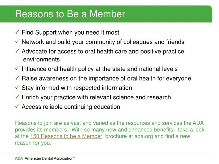 Reasons to Be a Member