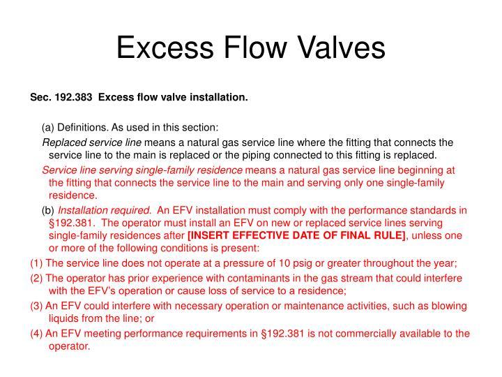 Excess Flow Valves