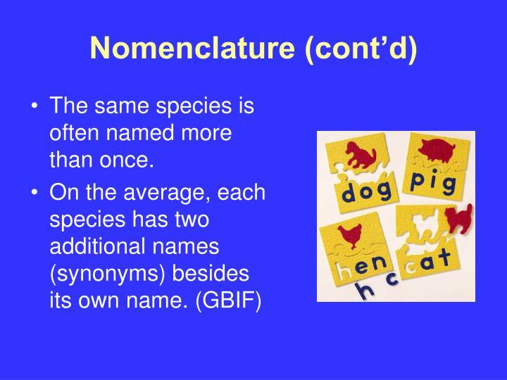 Nomenclature (cont'd)