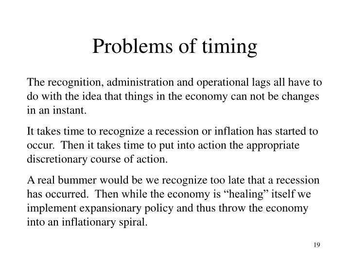 Problems of timing