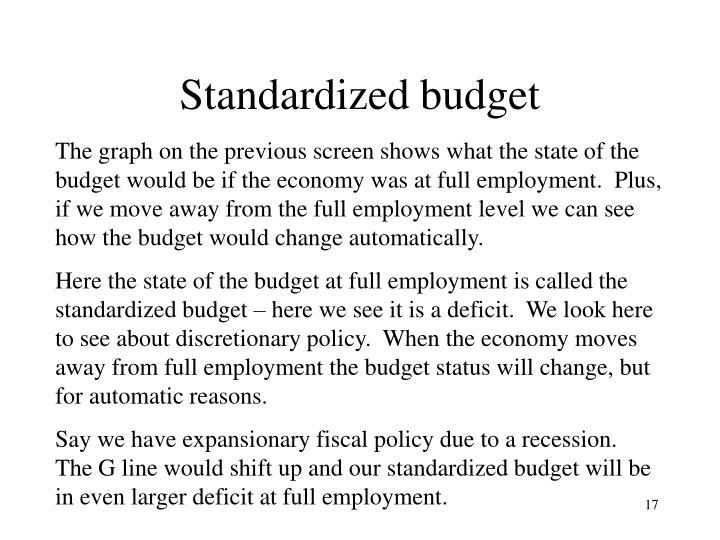Standardized budget