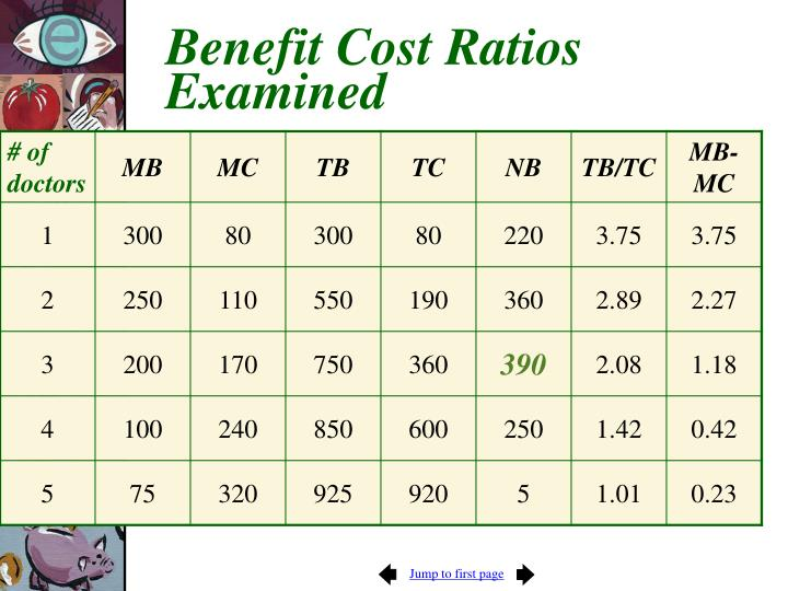 Benefit Cost Ratios Examined