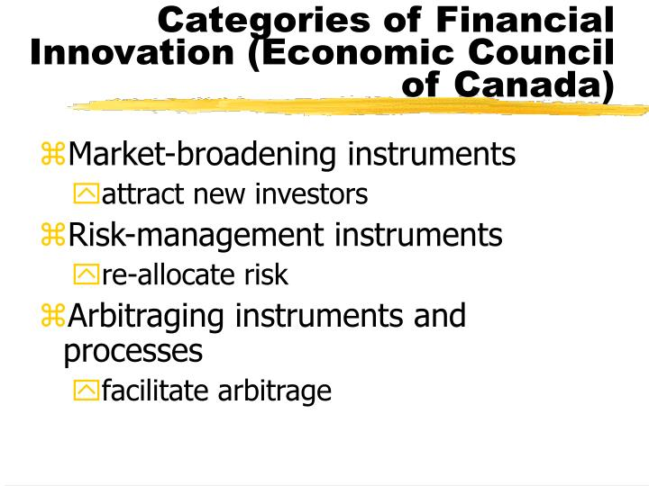 Categories of Financial Innovation (Economic Council of Canada)