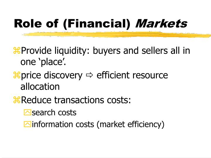 Role of (Financial)