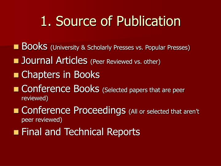 1 source of publication
