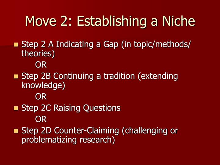 Move 2: Establishing a Niche