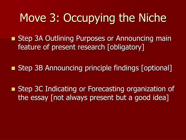 Move 3: Occupying the Niche