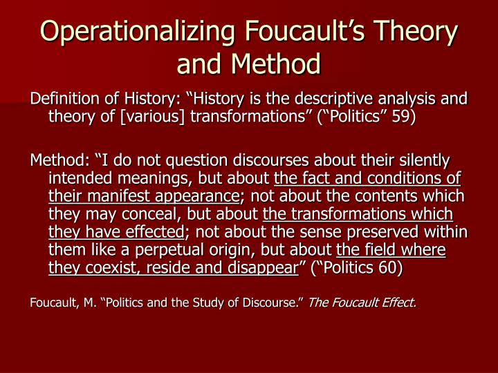Operationalizing Foucault's Theory and Method