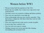 women before ww1