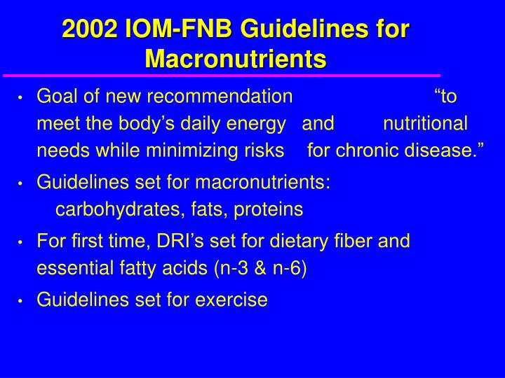 2002 IOM-FNB Guidelines for Macronutrients