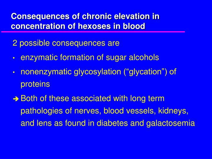Consequences of chronic elevation in concentration of hexoses in blood