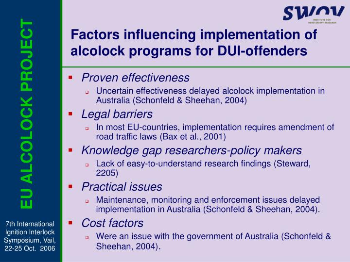 Factors influencing implementation of alcolock programs for dui offenders