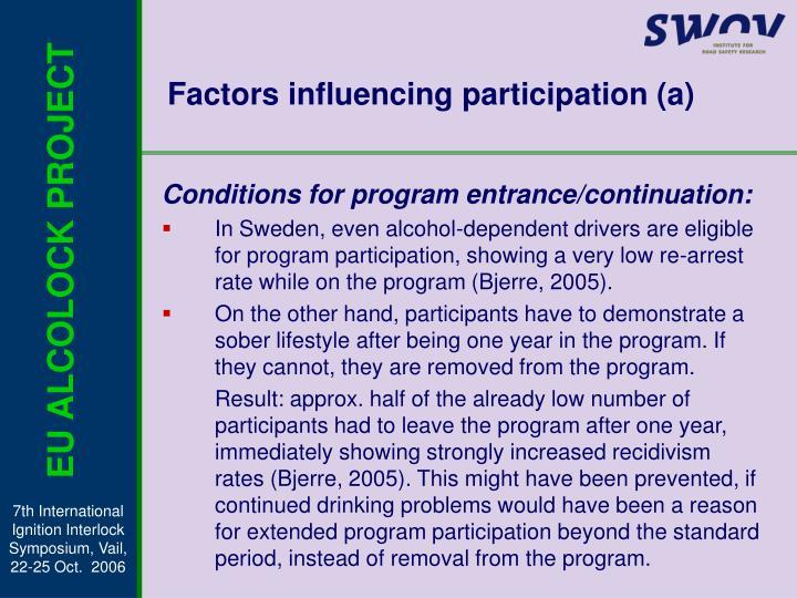 Factors influencing participation (a)