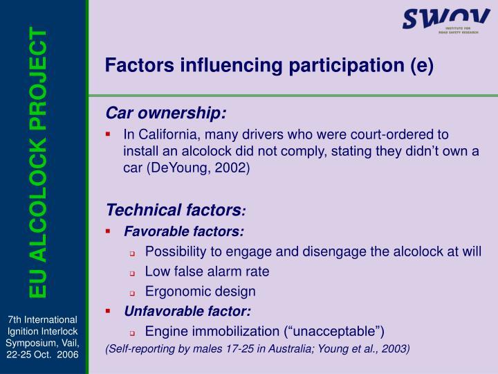 Factors influencing participation (e)