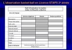 l observation basket ball en licence staps 2 e ann e