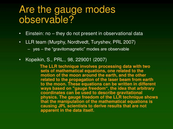Are the gauge modes observable?
