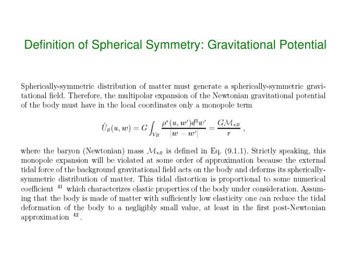 Definition of Spherical Symmetry: Gravitational Potential