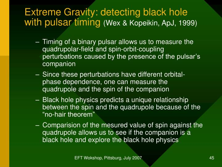 Extreme Gravity: detecting black hole with pulsar timing