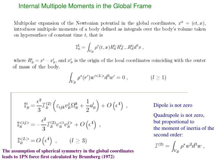 Internal Multipole Moments in the Global Frame