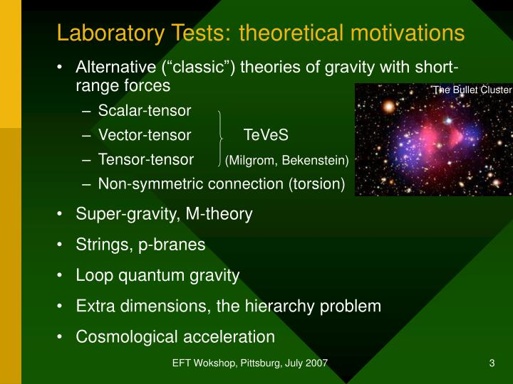 Laboratory tests theoretical motivations
