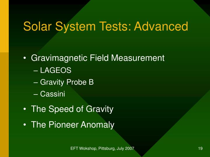 Solar System Tests: Advanced