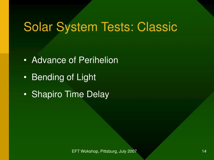 Solar System Tests: Classic