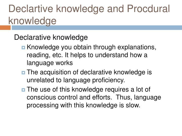 Declartive knowledge and Procdural knowledge