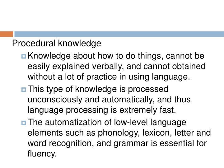 Procedural knowledge
