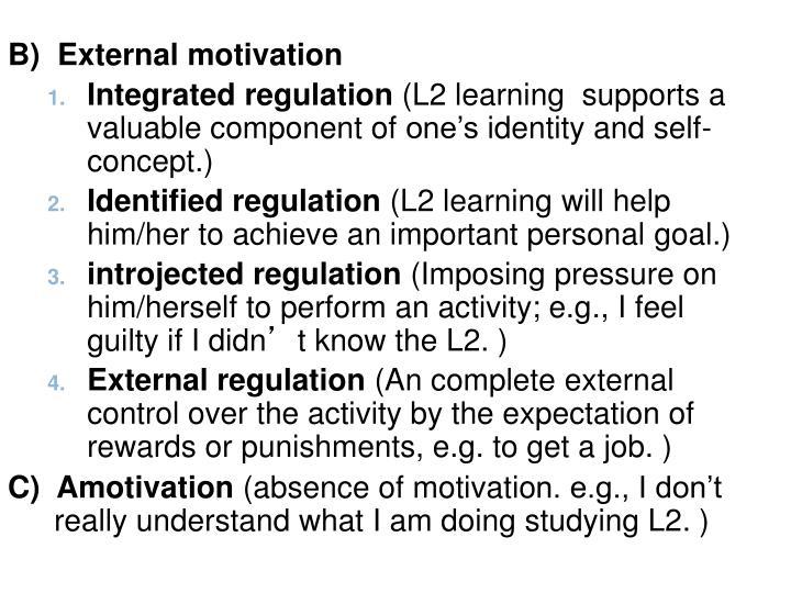 B)  External motivation