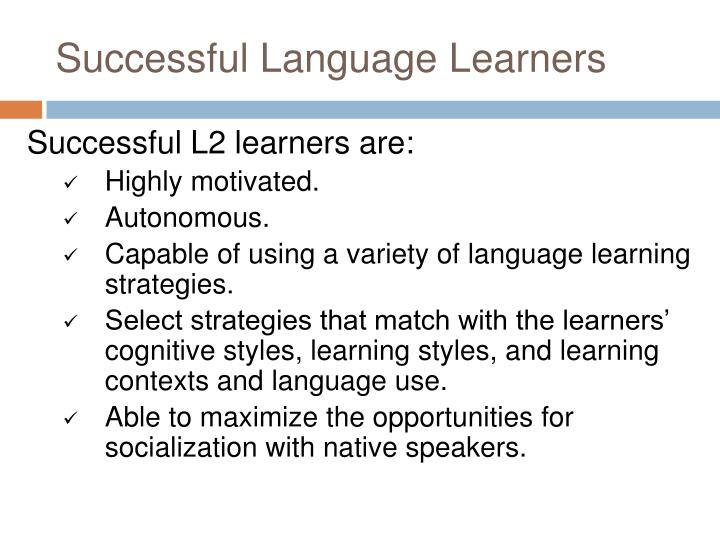 Successful language learners