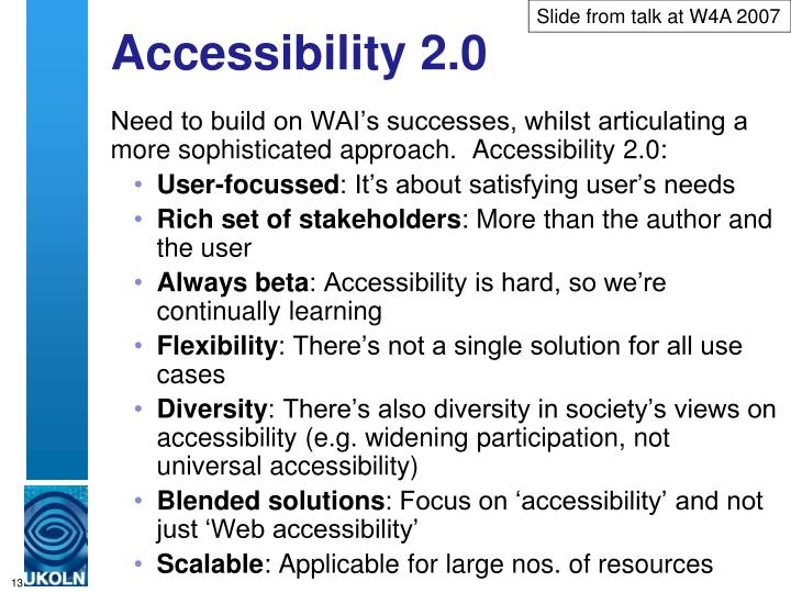 Slide from talk at W4A 2007