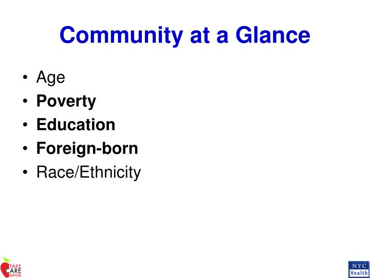 Community at a Glance