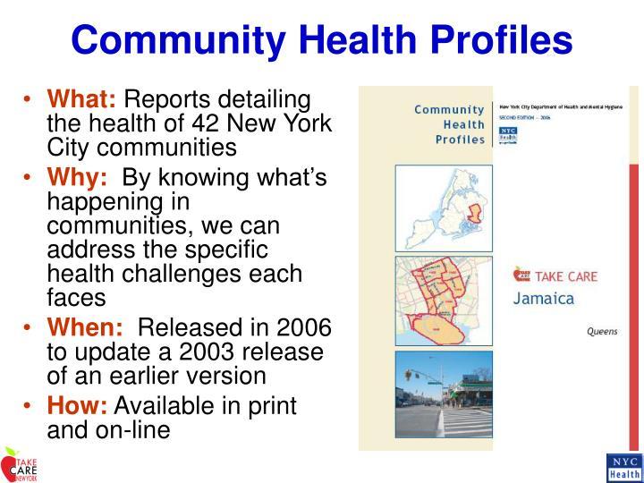 Community health profiles